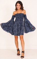 Give It Time dress in navy print