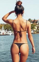 Hydra Bikini Bottom in Black Metallic