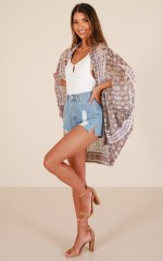 Leave It All Behind kimono in beige print