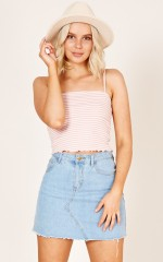 Live Life crop top in blush stripe