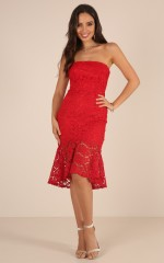 Love Vibes dress in red lace
