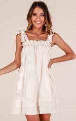 Settle Down dress in beige stripe