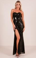 Shimmer Shimmer Maxi Dress in Black Sequin