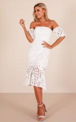 Shooting Arrows dress in white crochet