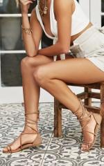 Showpo x Billini - Arizona Sandals in stone micro