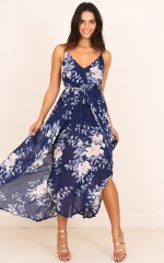 Thank Me Later dress in navy floral
