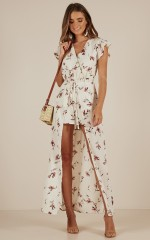 Sweet As Sugar Maxi playsuit in Cream floral