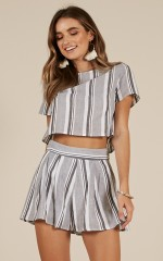 Coconuts two piece set in grey stripe