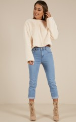 Chelsea cropped mum jean in mid blue