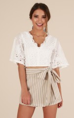 Satina crop top in white embroidery