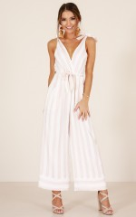 Love Triangle jumpsuit in blush stripe