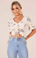 Love Is Blooming top in cream floral