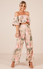 Here With Me two piece set in beige floral