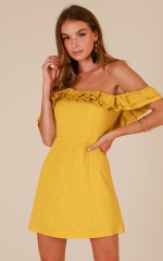 Obsession dress in mustard linen look