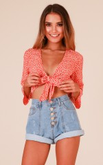 Iris top in orange floral