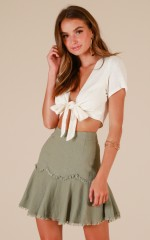 As Dreamers Do Skirt In Khaki Linen Look