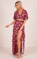 Sweet Breeze two piece set in wine paisley print