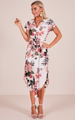 Counting Down dress in white floral