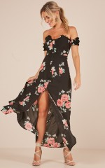 Holding Hands maxi dress in black floral
