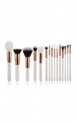 Makeup brush set in white and rose gold - 15 pc