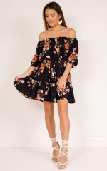 Feel The Music dress in black floral