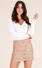 Frontier Street skirt in taupe suedette