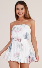 Pretty Little Lies playsuit in white floral