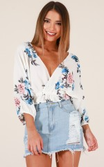 Same Old Story top in white floral