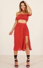 Solar Eclipse two piece set in red polka dot