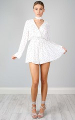 Lost Time playsuit in white polka dot