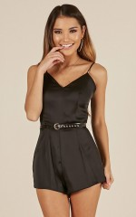 Hold Me Tight playsuit in black