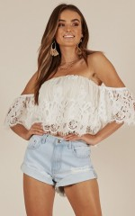 Smile For Me top in ivory lace