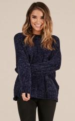 Cold Thunder velvet knit sweater in navy
