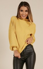 Cant Stand The Rain Knit Sweater In Mustard