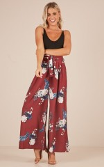 Too Much Future pants in wine floral