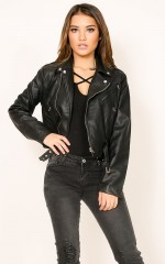 Rocker Chick jacket in black leatherette