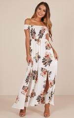 Daytime Dancer maxi dress in cream floral