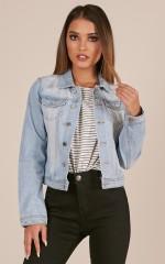Fashion Killa jacket in light wash denim