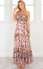 From Yesterday Maxi Dress in beige print