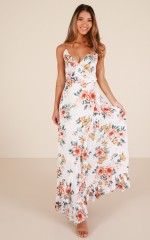 Tropical Dreamer maxi dress in white floral