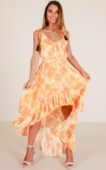 Keep Spinning maxi dress in yellow print