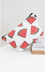 Watermelon cosmetics bag in white print