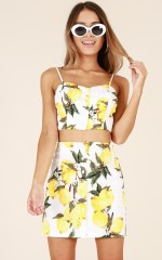 Zesty two piece set in yellow print