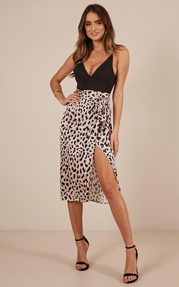 Madame Bovary Midi Skirt In Leopard Print Satin Showpo