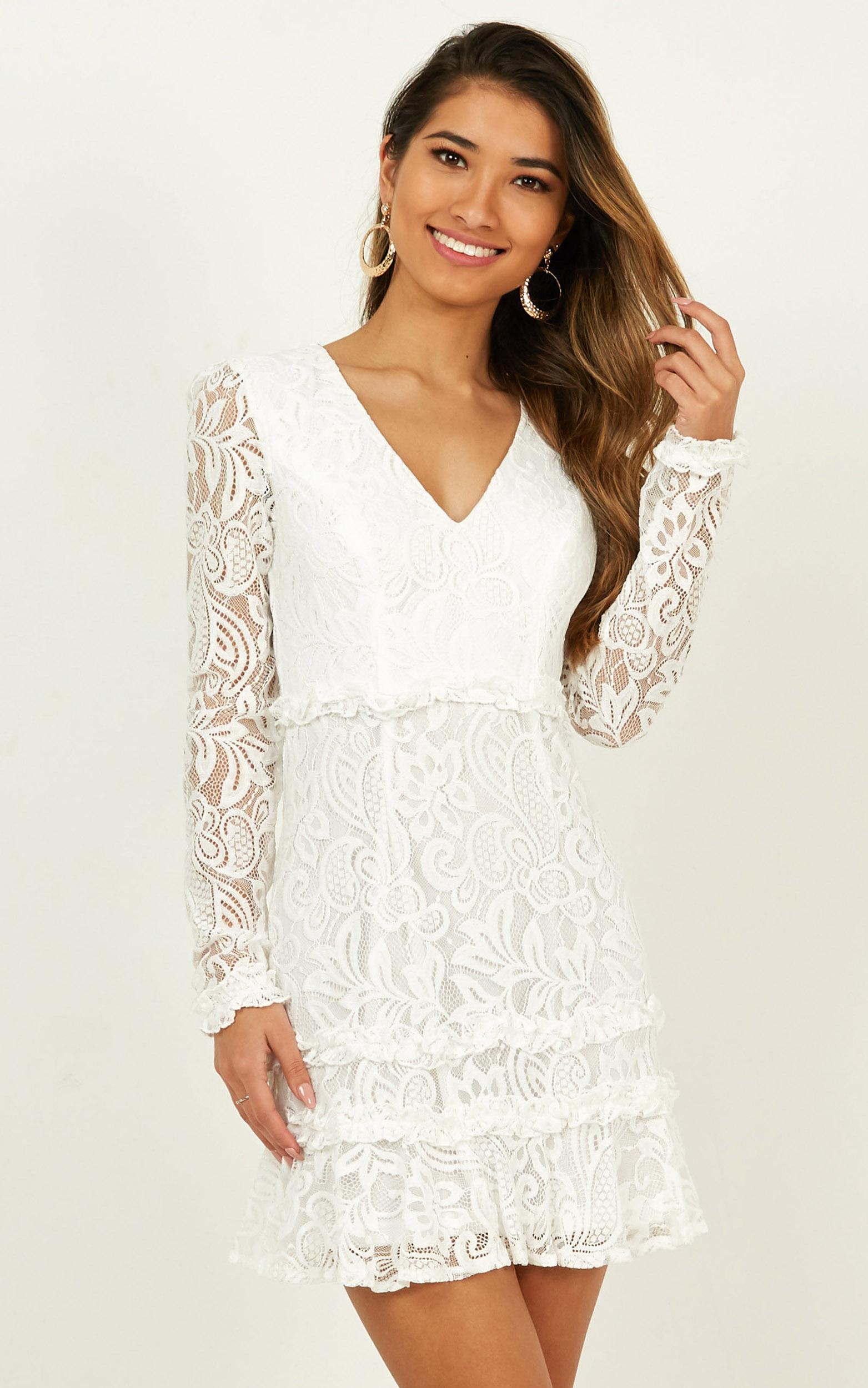 Mermaid Moment Dress In White Lace