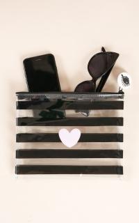 Love Me Better pouch in black stripe
