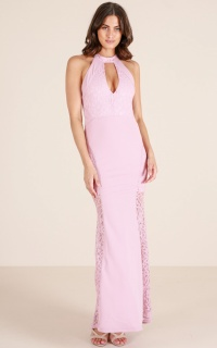 Lady Lace maxi dress in mauve