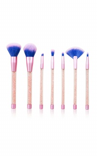 Crystal Glitter Makeup Brush Set in light amethyst - 7 PC