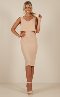 Looking Sharp Dress in beige