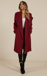 Temporary Love Coat In Wine